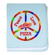 Peace Love Pizza baby blanket