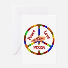 Peace Love Pizza Greeting Card