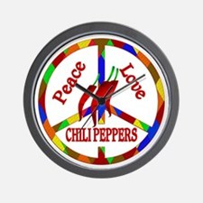 Peace Love Chili Peppers Wall Clock