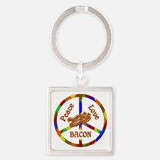 Peace Love Bacon Square Keychain