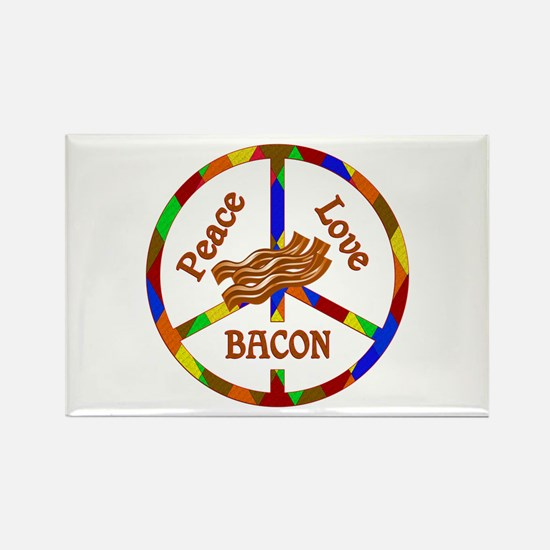 Peace Love Bacon Rectangle Magnet