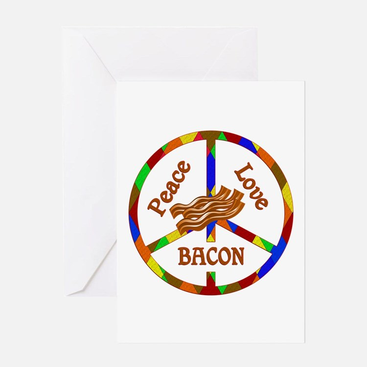 Peace Love Bacon Greeting Card