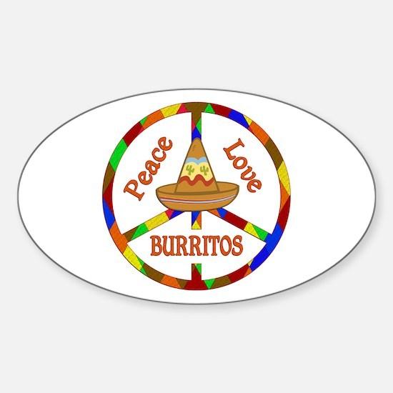 Peace Love Burritos Sticker (Oval)