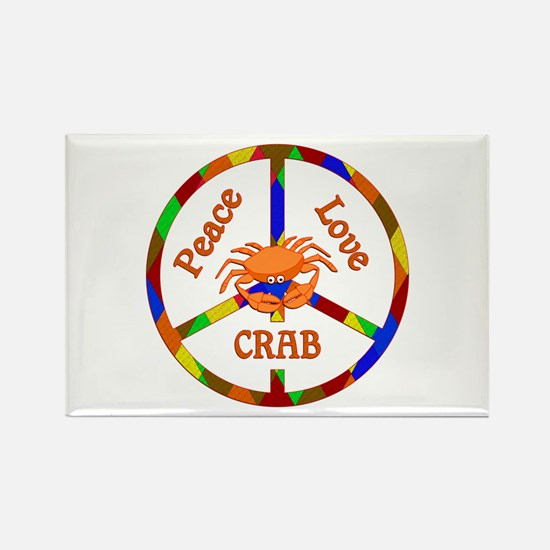 Peace Love Crab Rectangle Magnet