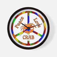 Peace Love Crab Wall Clock