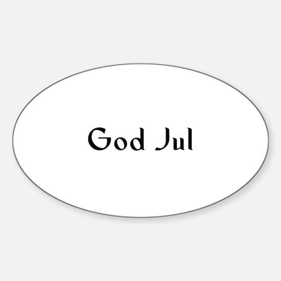 God Jul Oval Decal