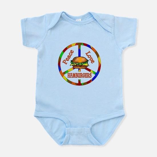 Peace Love Hamburgers Infant Bodysuit