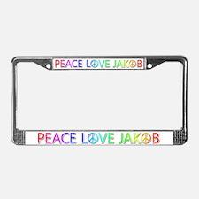 Peace Love Jakob License Plate Frame