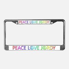 Peace Love Jordy License Plate Frame
