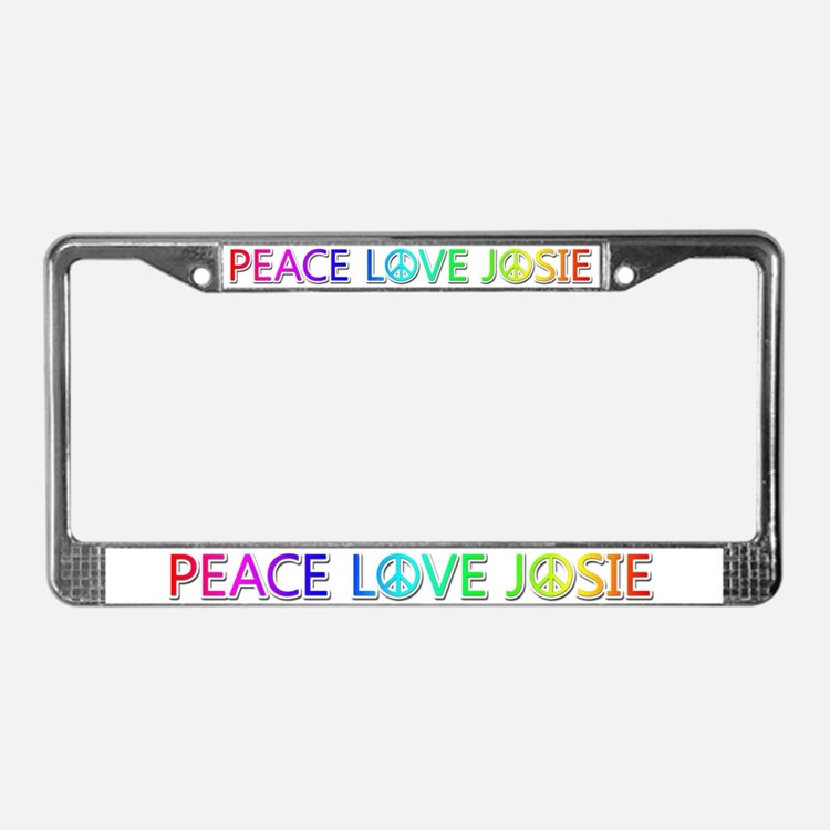 Peace Love Josie License Plate Frame