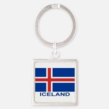 Icelandic Flag (labeled) Keychains