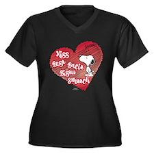Snoopy - Kis Women's Plus Size V-Neck Dark T-Shirt