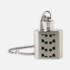 st patricks day shamrocks Flask Necklace