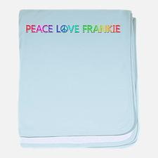Peace Love Frankie baby blanket