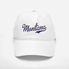 Montana Script Font Blue Baseball Baseball Baseball Cap