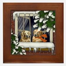 Golden Retriever Dogs Frozen Window Framed Tile