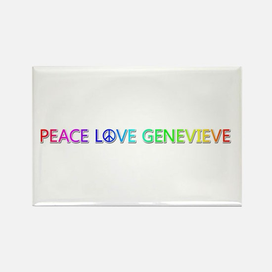 Peace Love Genevieve Rectangle Magnet