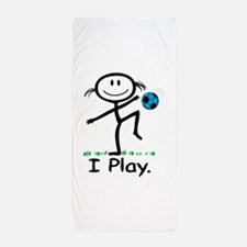Soccer Girl Blue Beach Towel