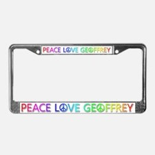 Peace Love Geoffrey License Plate Frame