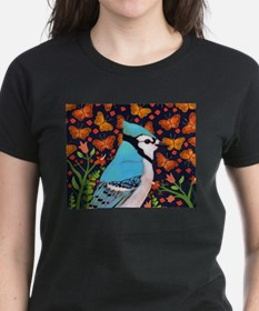BLUE BIRD WITH ORANGE FLOWERS AND BUTTERFLIES T-Sh