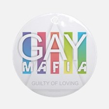 Gay Mafia Round Ornament