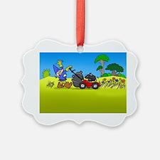 Lawn mowing gnome. Ornament