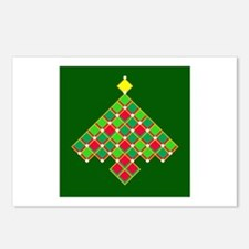 xmas quilt treesave gold Postcards (Package of 8)