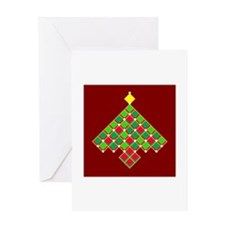 xmas quilt treesave gold red Greeting Card
