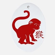 Cute Year Of The Monkey Oval Ornament
