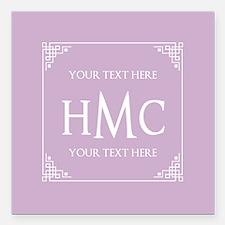 "Lilac Vintage Frame Cust Square Car Magnet 3"" x 3"""