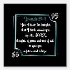 "Bible Verse Quote Jeremi Square Car Magnet 3"" x 3"""