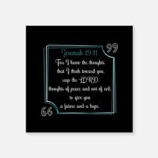 "Bible Verse Quote Jeremiah Square Sticker 3"" x 3"""
