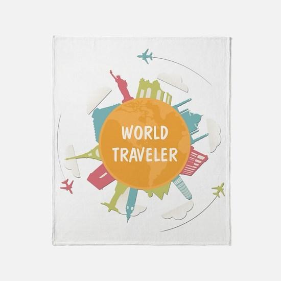 Cute World traveler Throw Blanket