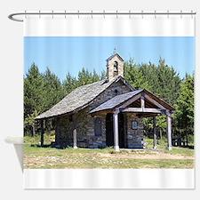 El Camino, church at Cruz de Ferro Shower Curtain