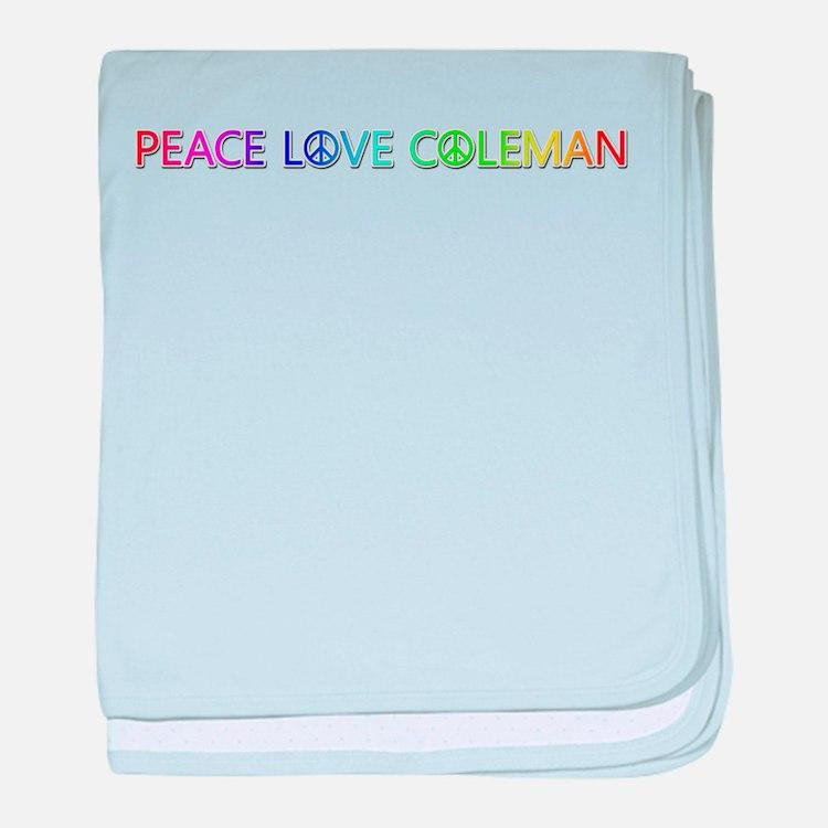 Peace Love Coleman baby blanket