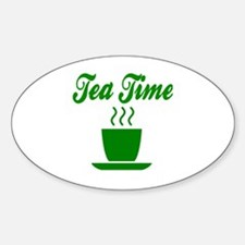 Cute Time for tea Sticker (Oval)