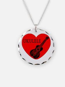 Ukulele Love Necklace Circle Charm