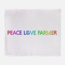 Peace Love Farmer Throw Blanket