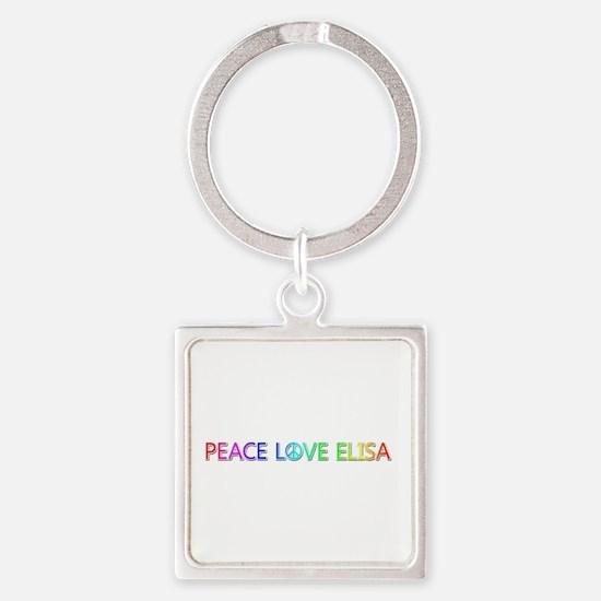 Peace Love Elisa Square Keychain