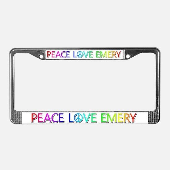 Peace Love Emery License Plate Frame
