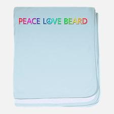 Peace Love Beard baby blanket