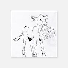 "Cute Baby pig cartoon cow Square Sticker 3"" x 3"""