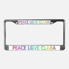 Peace Love Clara License Plate Frame