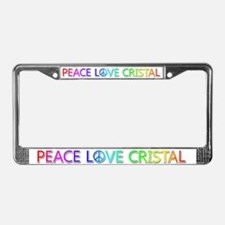 Peace Love Cristal License Plate Frame