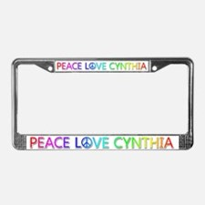 Peace Love Cynthia License Plate Frame