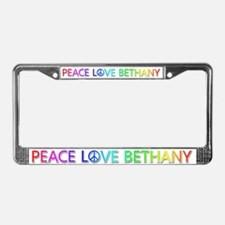 Peace Love Bethany License Plate Frame