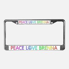 Peace Love Brenna License Plate Frame