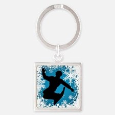 SNOWBOARDING (Teal) Square Keychain