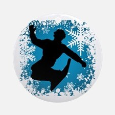 SNOWBOARDING (Teal) Round Ornament