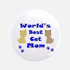 "World's Best Cat Mom 3.5"" Button (100 pack)"